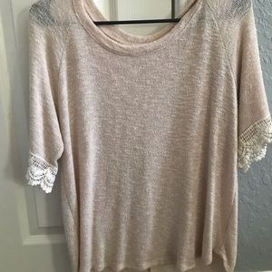 Cream top with lacy detail